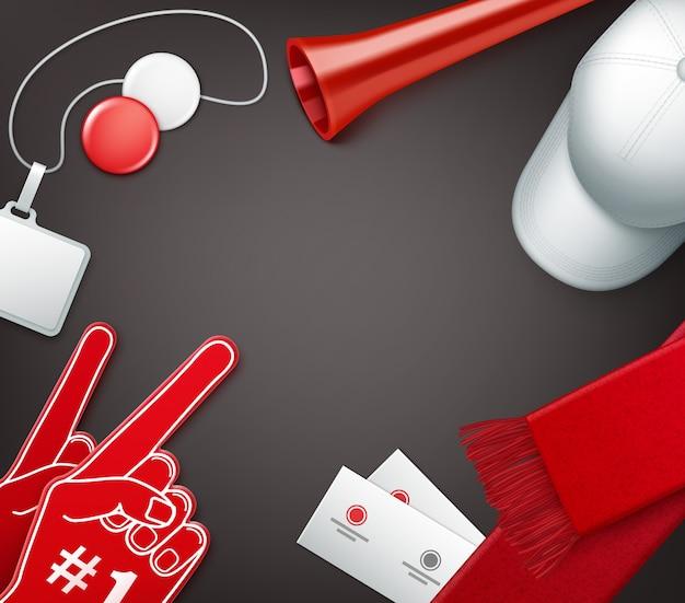 Attributi dei tifosi nei colori rosso e bianco Vettore Premium