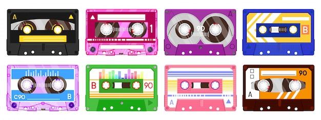 Nastri di registrazione audio. cassetta di musica retrò, cassetta audio mix di musica vintage, set di icone di illustrazione di nastro audio. musicassetta, tecnologia record anni '80 Vettore Premium