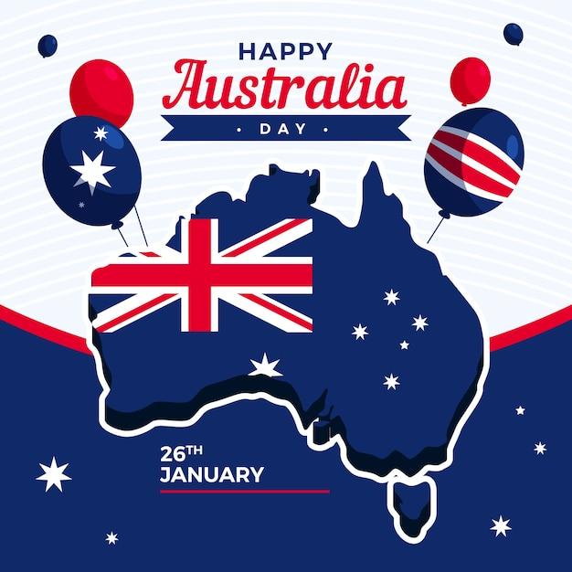 Giorno dell'australia in design piatto Vettore Premium