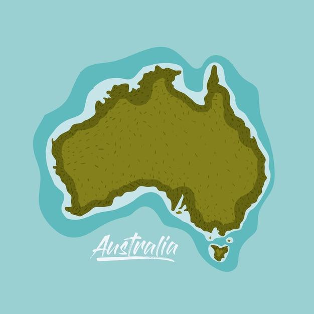 Mappa dell'australia in verde circondata dall'oceano Vettore Premium