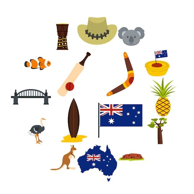 Icone di viaggio dell'australia messe nello stile piano Vettore Premium