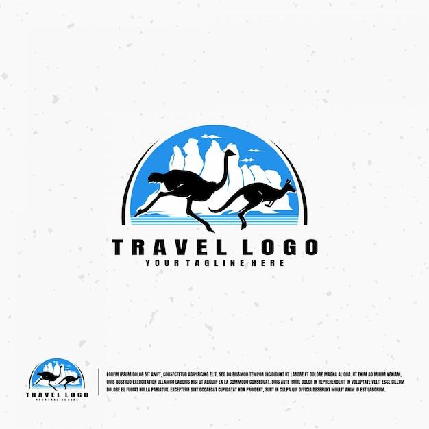 Modello di logo di illustrazione di viaggio australia Vettore Premium