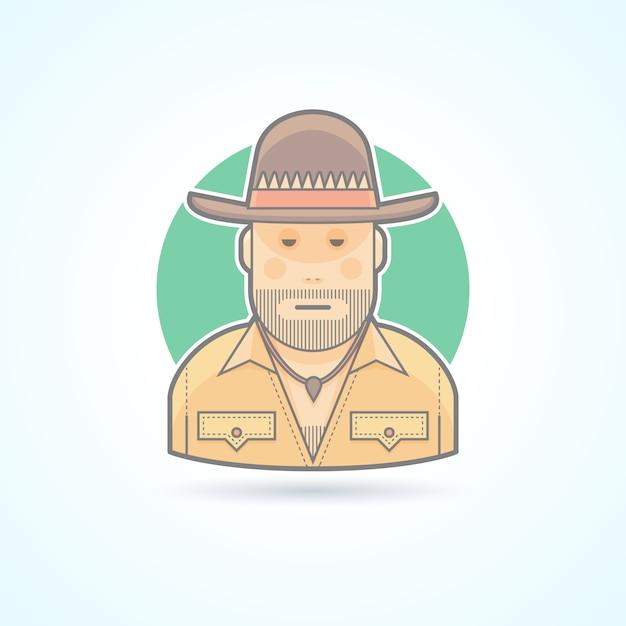 Cacciatore australiano, icona dei boscimani. illustrazione di avatar e persona. stile delineato colorato. Vettore Premium