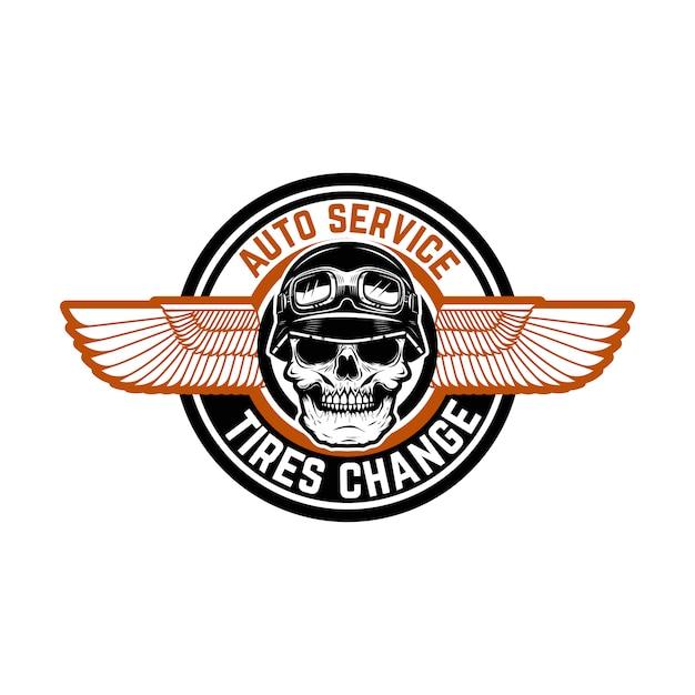 Servizio auto. i pneumatici cambiano. emblema con teschio da corsa e ali. elemento per logo, etichetta, emblema, segno, distintivo. illustrazione Vettore Premium