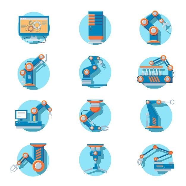 Set di icone robot industriale automatico Vettore Premium