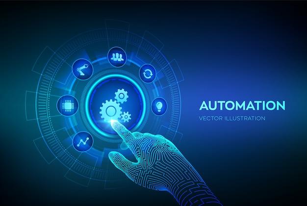 Software di automazione. iot e il concetto di automazione sullo schermo virtuale. mano robotica toccando l'interfaccia digitale. Vettore Premium