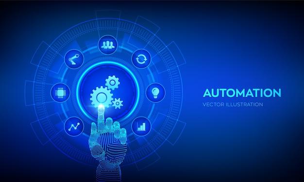 Software di automazione. iot e il concetto di tecnologia di automazione. mano robotica toccando l'interfaccia digitale. Vettore Premium