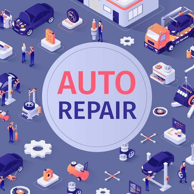 Modello senza cuciture automobilistico con testo di riparazione automatica Vettore Premium