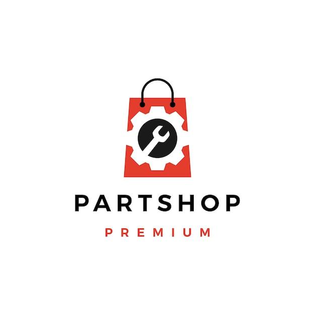 Logo del negozio di ricambi automobilistici Vettore Premium