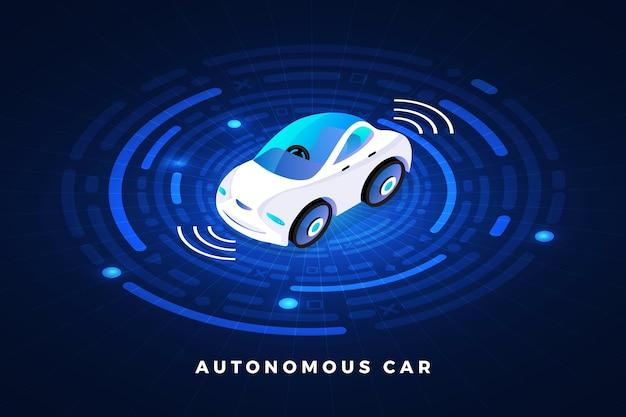 Autonoma guida autonoma sensori automobilistici smart car tecnologia del veicolo senza conducente Vettore Premium