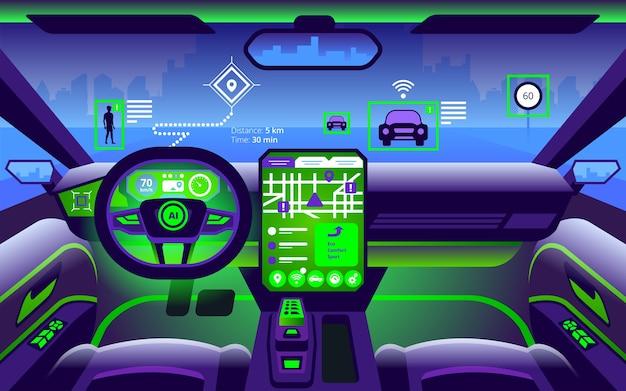 Interni auto intelligenti autonomi. guida autonoma nel paesaggio della città. il display mostra le informazioni sul veicolo in movimento, gps, tempo di viaggio, app di assistenza per la distanza di scansione. Vettore Premium