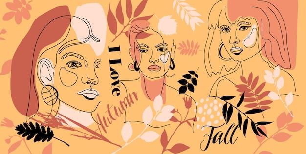Banner autunnali con donne affrontano uno stile di linea minimale. collage di colore contemporaneo astratto di forme geometriche in uno stile moderno e alla moda. Vettore Premium