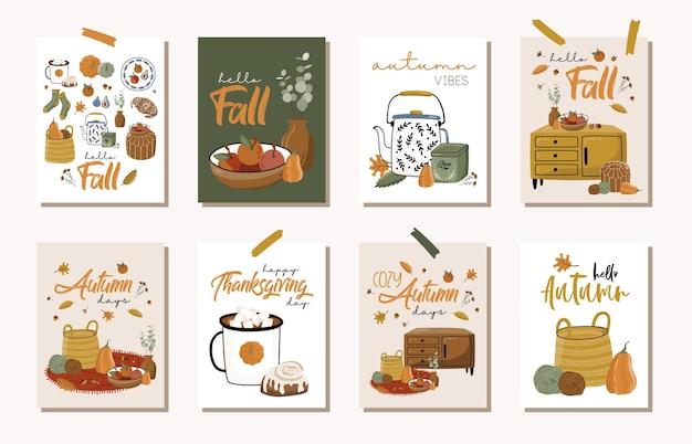 Set di carte d'autunno. Vettore Premium
