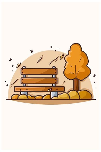 Giorno di autunno in un marciapiede con l'illustrazione dell'albero in piedi Vettore Premium
