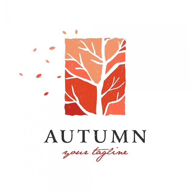 Autunno su un albero secco logo premium Vettore Premium