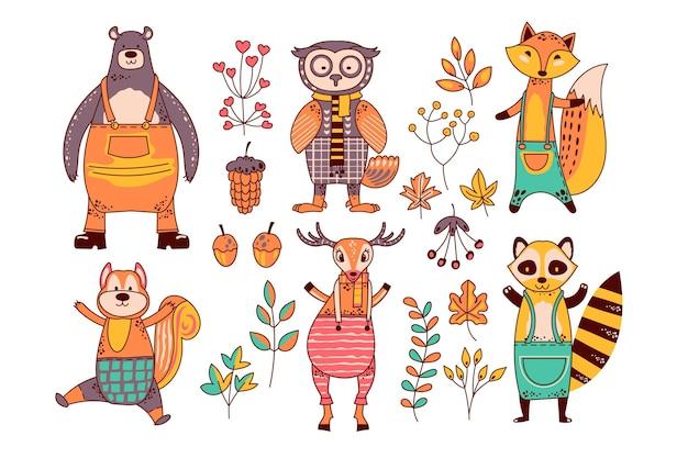 Collezione di animali della foresta d'autunno Vettore Premium