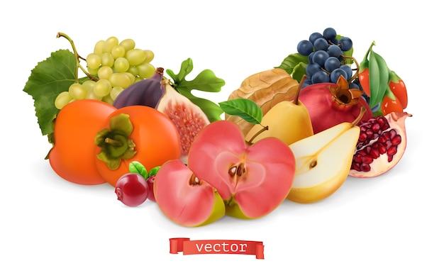 Insieme dell'illustrazione di frutti e bacche di autunno Vettore Premium