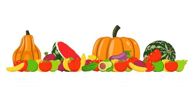 Illustrazione del fumetto di vettore delle verdure e di frutta del raccolto di autunno isolata Vettore Premium