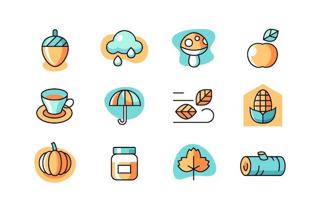Set di icone d'autunno Vettore Premium