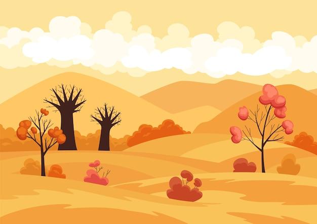 Campo di paesaggio autunnale con alberi e fogliame giallo caduto. . Vettore Premium