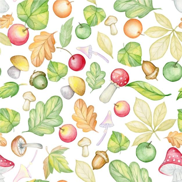 Foglie di autunno, ghiande, funghi, funghi velenosi, agarichi mosca, mele, arance, ciliegie, su uno sfondo isolato. reticolo senza giunte dell'acquerello, su un fondo isolato. Vettore Premium