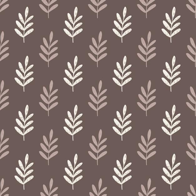 Reticolo senza giunte delle siluette dei rami delle foglie di autunno. grafica botanica stilizzata nei toni del beige e del marrone. Vettore Premium
