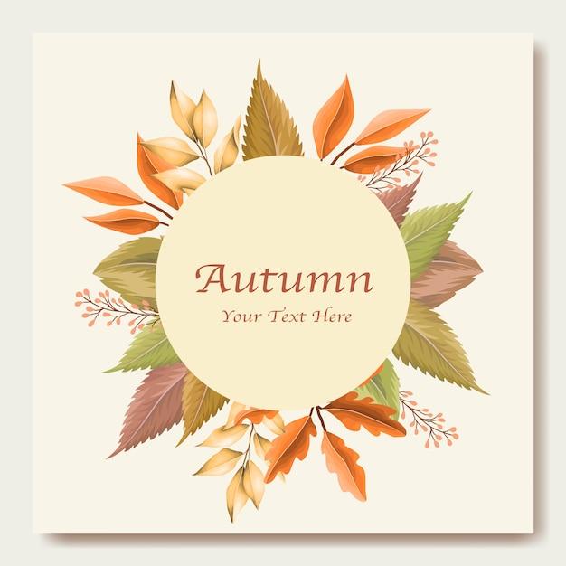Modello di carta di invito foglie d'autunno Vettore Premium
