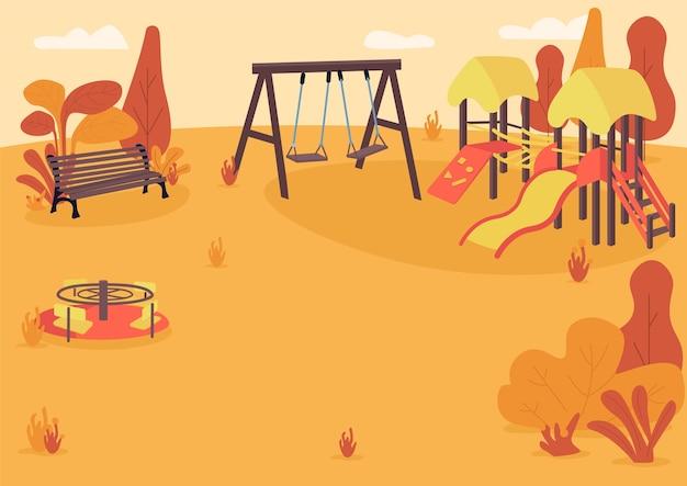Colore piatto del parco giochi autunnale. parco pubblico in autunno. area ricreativa per bambini vuota. zona parco autunnale con parco giochi per bambini paesaggio cartone animato 2d con alberi sullo sfondo Vettore Premium