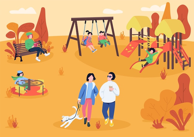 Parco giochi autunnale con illustrazione di colore piatto visitatori Vettore Premium