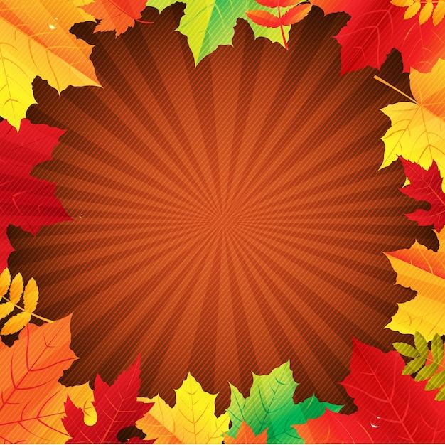 Poster autunno con foglie con gradiente maglie, illustrazione Vettore Premium