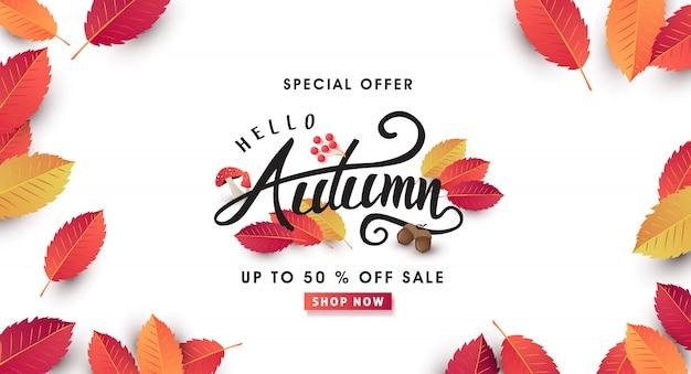 Il layout di vendita autunnale decorare con foglie per banner web di vendita dello shopping. Vettore Premium