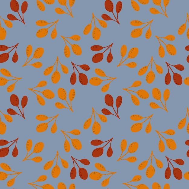 Autunno doodle senza soluzione di continuità patern con rami di caduta di colore arancione e marrone. ornamento casuale su sfondo blu. illustrazione di riserva. Vettore Premium