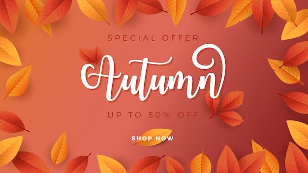Priorità bassa di stagione di autunno per la bandiera di promozione di vendita Vettore Premium