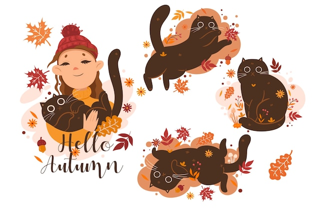 Insieme di autunno delle illustrazioni dei gatti e della ragazza e la scritta hello autumn. grafica vettoriale Vettore Premium