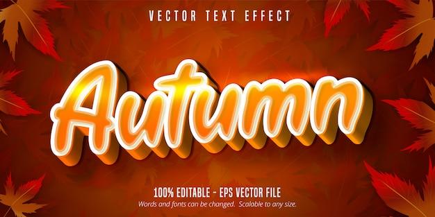 Testo autunnale, effetto di testo modificabile in stile autunnale sulle foglie d'acero Vettore Premium