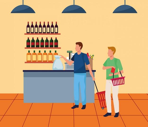 Uomini di avatar al registratore di cassa del supermercato Vettore Premium