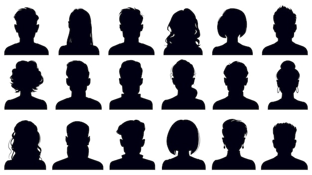 Sagome di ritratto di avatar. donna e uomo affronta ritratti, avatar personaggi anonimi Vettore Premium