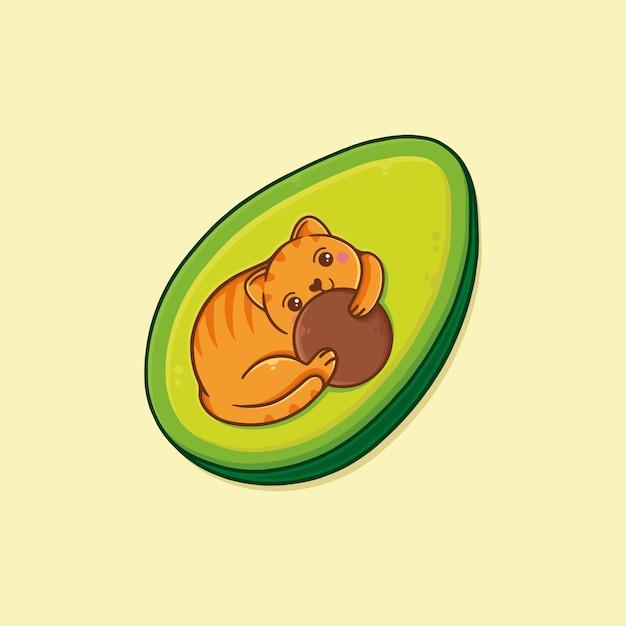 Illustrazione sveglia di kawaii del gatto dell'avocado Vettore Premium