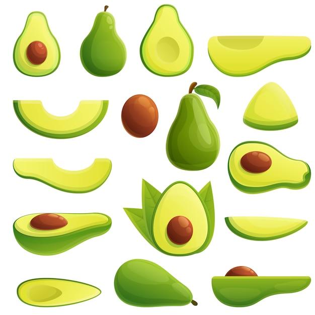 Set di icone di avocado Vettore Premium