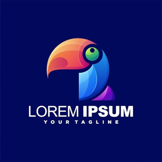 Fantastico logo color uccello Vettore Premium