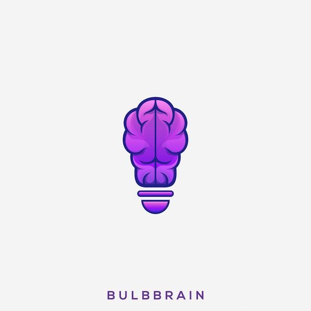 Impressionante lampadina brain logo Vettore Premium