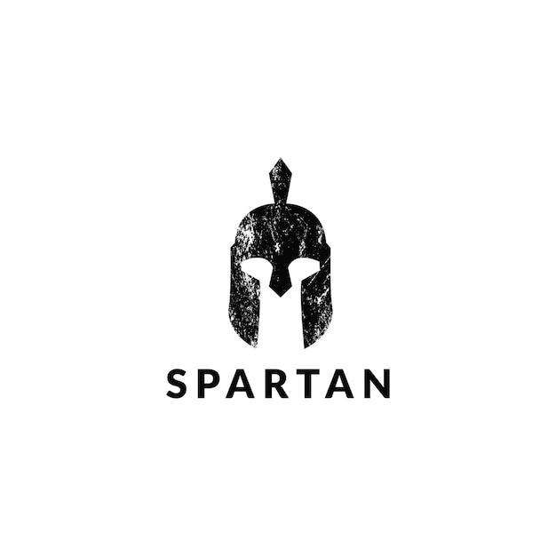 Fantastico logo del casco spartano grunge Vettore Premium