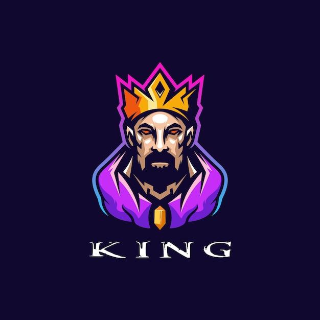 Fantastico design del logo del re Vettore Premium