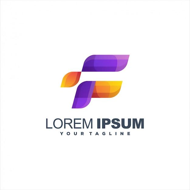 Fantastico logo design lettera f Vettore Premium
