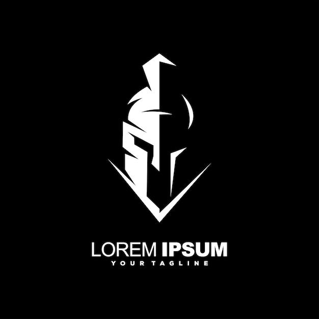 Fantastico design del logo del casco spartano Vettore Premium