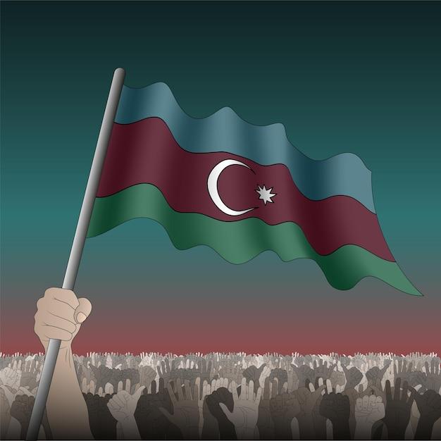 Azerbaigian sventola bandiera in mano tra la folla. Vettore Premium