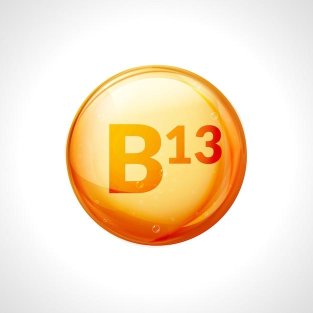 Olio di goccia di vitamina b13. salute medicina acido orotico dieta naturale b13 nutrizione cura alimentare vitamina. Vettore Premium
