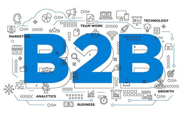 Sfondo iconico business to business b2b Vettore Premium