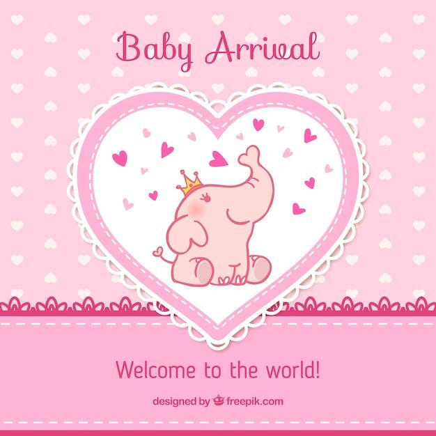 Baby card arrivo in toni rosa Vettore Premium