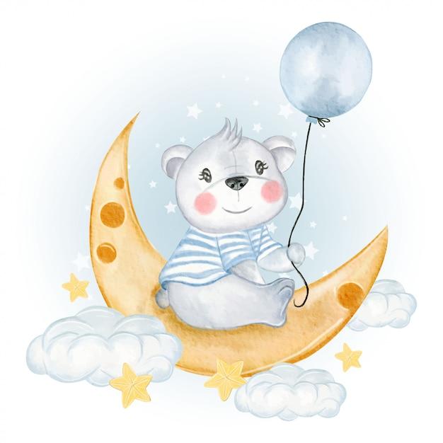 Pallone della tenuta dell'orso del bambino sulle nuvole di luna Vettore Premium